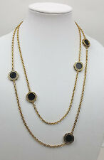 Vintage necklace long gold-tone chain and black glass disks in filigree frames