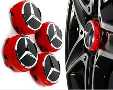 4 Tappi Coprimozzo Mercedes Classe A B C E CLA CLS Cerchi in Lega 75mm  Rossi