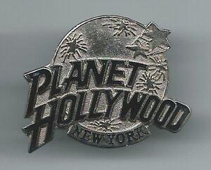 PLANET HOLLYWOOD NEW YORK PIN RARE SILVER Globe NY PINBACK