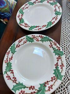 EMMA BRIDGEWATER  2 winterberry  10 1/2 dinner plates seconds