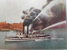 Portland Oregon Fire Boat in Action c. 1905 Steamer Ship