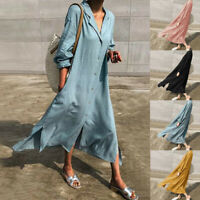 ZANZEA Women Long Sleeve Cotton Linen Long Shirt Dress Casual Autumn Kftan Tunic