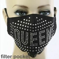 Crystal Rhinestone Bling Queen Fashion Face Mask with Filter Pocket Nose Wire