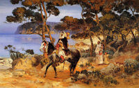 "Oil painting frederick arthur bridgman - a coastal trail arabs horseman 24""x36"""