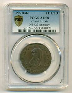 Great Britain 1790's 1/2 Penny Conder Token D&H-427 Anglesey Druid AU58 PCGS