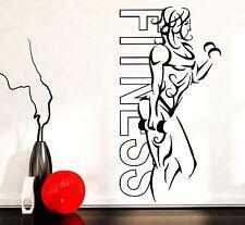 Wall Stickers Vinyl Fitness Girl Woman Iron Sport Yoga Health  (z1648)