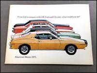 1971 AMC Sales Brochure Catalog - AMX Javelin Matador Hornet Gremlin Ambassador