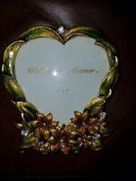 Wellesley Manor  Elegant Floral Picture Frame Metal Enamel Crystal