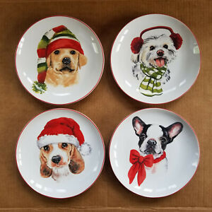 Pier 1 Imports - Christmas Puppies - 8in Salad Plates - 4 Different Dogs