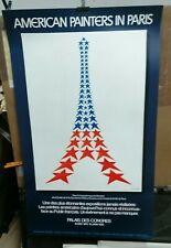 AFFICHE ORIGINALE ANCIENNE AMERICAN PAINTERS IN PARIS  TOUR EIFFEL 1976