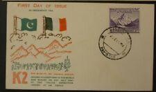 Pakistan 1954 K2 Mountain FDC: Rare stamp cover. High CV