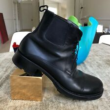PRADA MIU MIU men's black leather military combat ankle boots made in Italy
