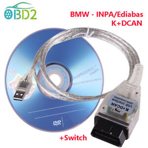 OBD2 Diagnostic USB Interface Cable For BMW INPA/Ediabas K+D CAN with Switch