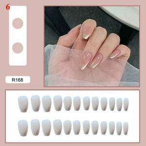 Fake Matte Nails Stiletto Tips Press on Long False with Glue Coffin Full Cover 8