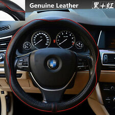 Universal 38cm Real Leather Car Steering Wheel Cover Anti-slip Sleeve Protector