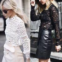 Fashion Women Long Sleeve T-Shirt Casual Lace Crochet Blouse Loose Cotton Tops