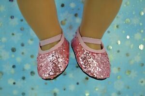 """Dolls Shoes For 17""""Baby Born~18""""American Girl PINK GLITTER SHOES"""