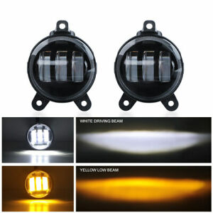 "2x 3.5"" Inch LED Fog Lights White Yellow Hi/Lo Beam Driving Lamp For Lada Priora"
