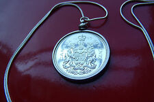 "1965 Silver Canadian 50 cent Proof Like Coin Pendant on a 30"" 925 Snake Chain"