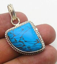 Copper Turquoise  Pendant Gemstone Jewellery 925 Sterling Silver Handmade 40mm