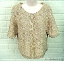 Belldini Gold Sequin Sweater P Medium PM One Button Cardigan Short Sleeve NWOT
