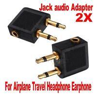 2 pcs 3.5mm Airline Airplane Audio Earphone Headphone Headset Jack Audio Adapter