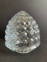 "Vtg MCM Acorn Clear Glass Light Shade Globe Bubble Dots Approx 3 1/8"" Fitter OD"