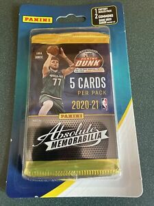 New Sealed Panini Absolute Memorabilia 2020-21 NBA Pack with 2 Bonus Cards