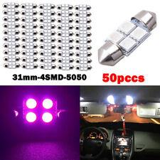 50PCS/Set 31mm 4 SMD 5050 LED Car Interior Festoon Dome Light Bulbs Lamp Pink