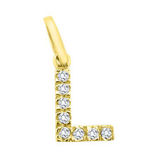 Woman name initial letter L pendant in 18kt 750/000 yellow gold with zircons
