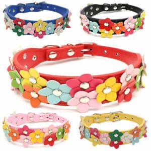 Cute Flower PU Leather Dog Collar Floral Adjustable Pet Collars Dog Cat Necklace