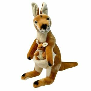"""Kangaroo Red with joey soft plush toy large Dodger 17""""/43cm by Bocchetta NEW"""
