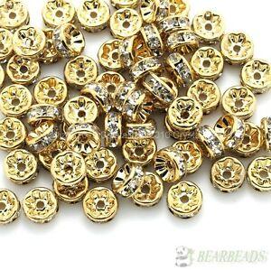 100 Czech Crystal Rhinestone Lt Rose Gold Rondelle Spacer Beads 4mm 5mm 6mm 8mm
