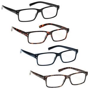 Value 4 Packs Reading Glasses Mens Womens Spring Hinges UV Reader RRRR45