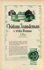"ADVERTISEMENT "" Mini Poster "" Bordeaux Chateau jeandeman Vineyard Wine J Roy MAP"