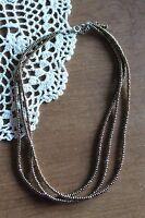 Silpada N1591 Three Strand Bronze Metallic Glass & Sterling Silver Bead Necklace