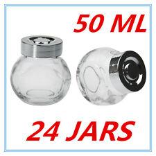 24 X MINI CLEAR GLASS SPICE JAR JARS WITH SILVER LIDS 50ML KITCHEN STORAGE AP
