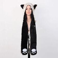 Snow Leopard Hood Hoodie Fur Animal Hat Mittens Scarf 3 IN 1 Function Winter Hat