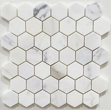Calacatta Gold Hexagon Honed Marble Mosaic Tiles 48x48