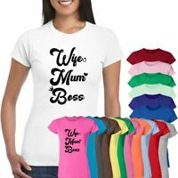 Wife Mum Boss T-Shirt Mothers Day Gift For Her Funny Hipster Birthday Tee Top