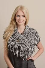 B16 Cable Knit Button Collar Scarf Poncho With Fringe Black & White Wood Buttons