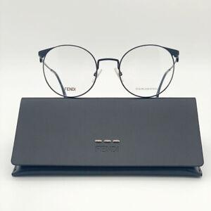 Brand NEW Fendi FF0305 807 Black Round Metal Women Eyeglasses