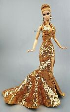 Eaki Handmade Gold Evening Dress Outfit Gown For Silkstone Fashion Royalty FR