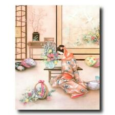 Japanese Girl Flowers Asian Wall Picture Art Print