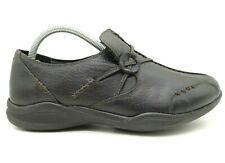 Clarks Wave Walk Black Leather Casual Slip On Loafers Shoes Women's 8.5 W
