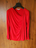 DAMSEL IN A DRESS TOP Poppy Red Cowl T-Shirt UK 14 / 42 - VGC