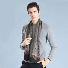 Men's 100% Mulberry Silk Long Scarf Double Layer Neckerchief Black Blue