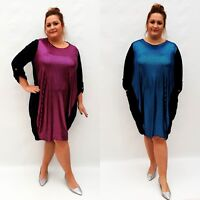 Plus Size Dress Tunic Lagenlook Loose Baggy Long Sleeve Shiny Party Wolfairy