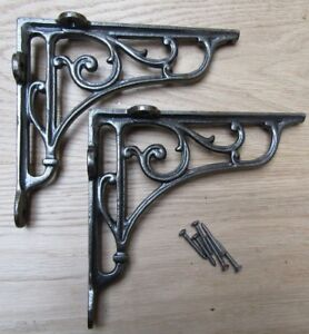 "7"" PAIR OF ANTIQUE IRON cast Victorian scroll ornate shelf support wall brackets"