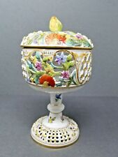 Carl Thieme DRESDEN Hand Painted Porcelain COVERED URN Reticulated Antique